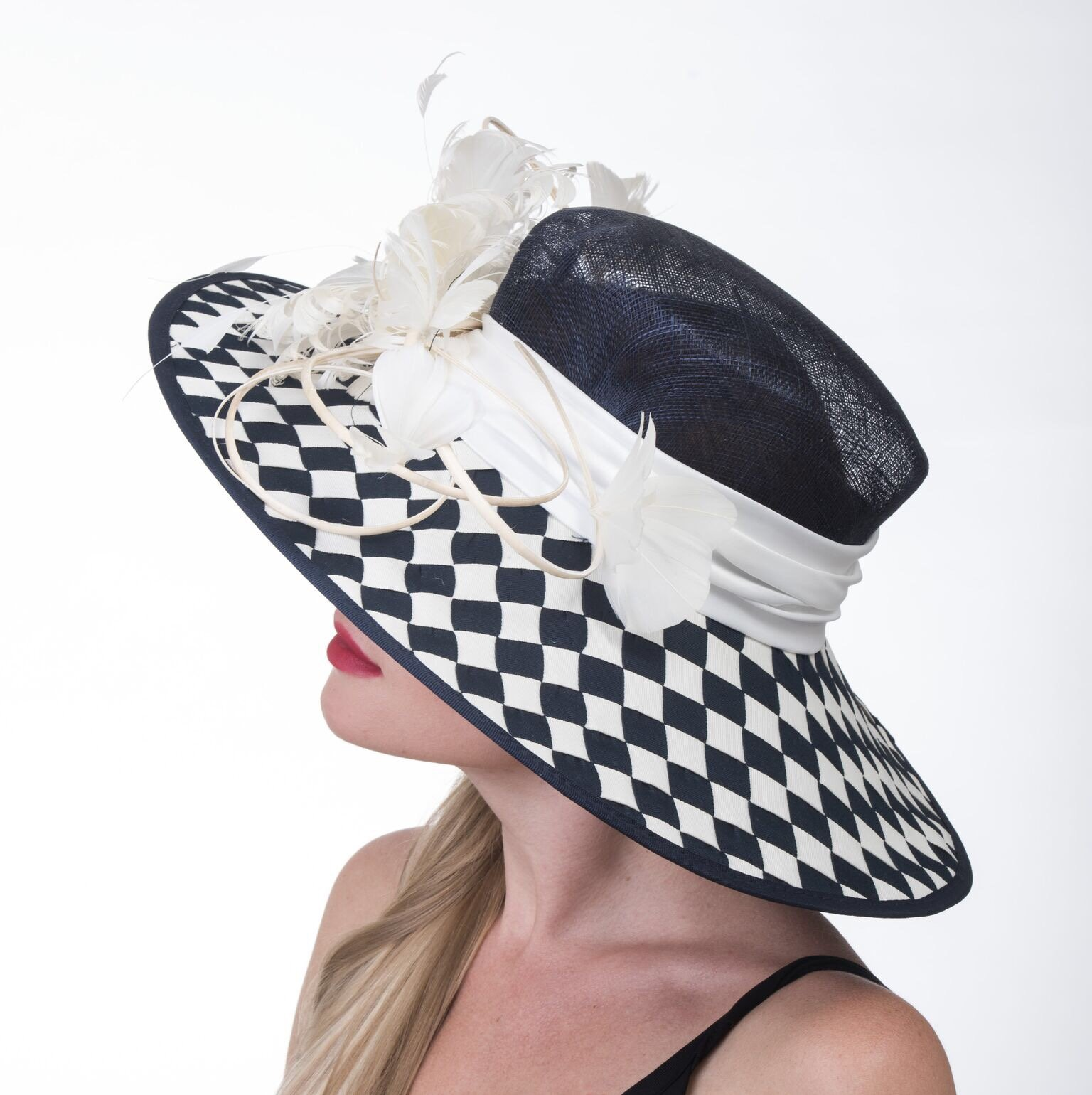 Gorgeous Wide Brim Sinamay Floral Feathers Derby Dress Hat Navy Blue w White by ray&daniel (Image #3)