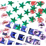 Mini Self-Adhesive Back Jewels Multi-Color Assorted Gems Rhinestone, Hearts, Diamonds, Stars Stickers for Arts & Crafts Projects, Decorations, Invitations (500 Assorted Pieces) by Super Z Outlet