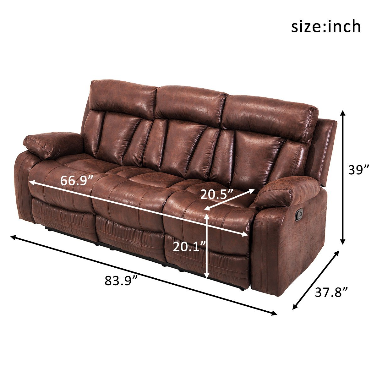 Amazon.com: The Fashionista Boutique Leather Sofa Reclining ...