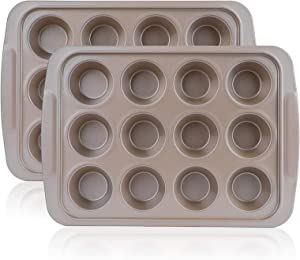 Kingrol 2 Pack 12-Cup Muffin Pans, Cake Pans, Non-stick & Easy Release Bakeware, Gold