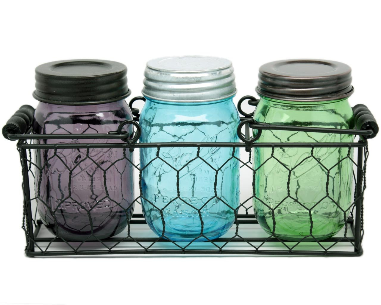 Amazon.com - Caddy for 3 Pint Mason Jars in Chicken Wire with Black ...