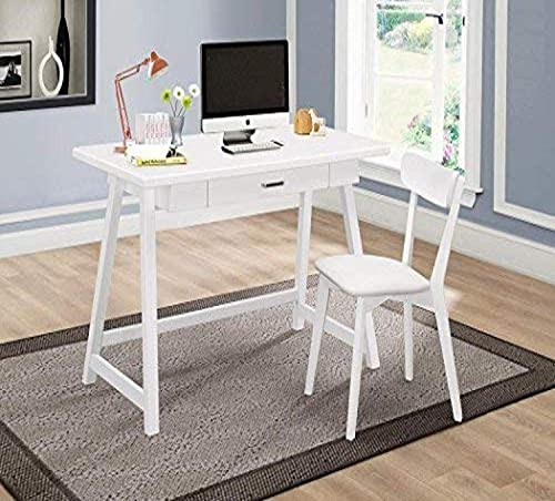 Coaster 2-Piece Writing Desk Set White White/Mid-Century Modern