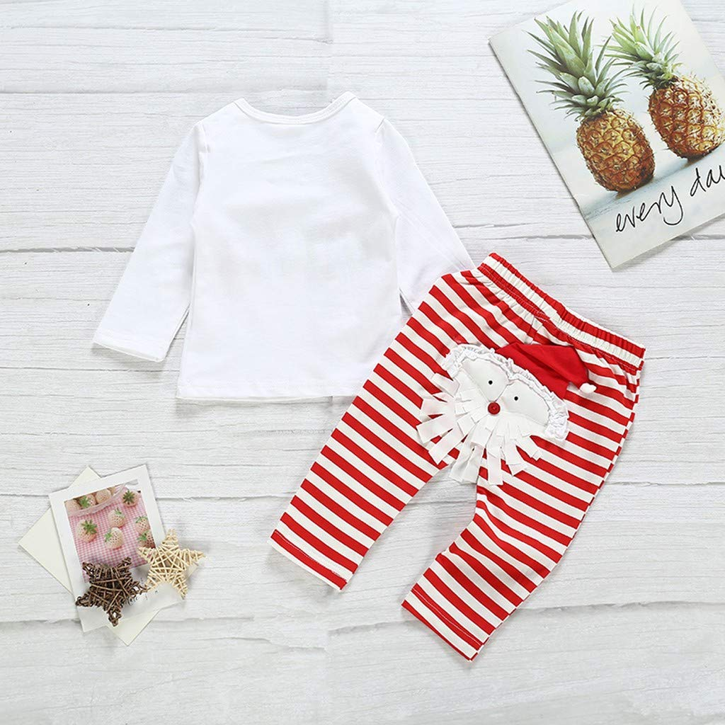 Gift for Newborn Infant Baby Boy Girl Letter T Shirt Striped Pants Outfits Set YESOT Christmas Baby Clothes Set