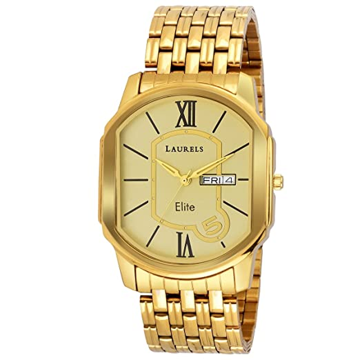 buy laurels gold color day date analog men s watch with metal