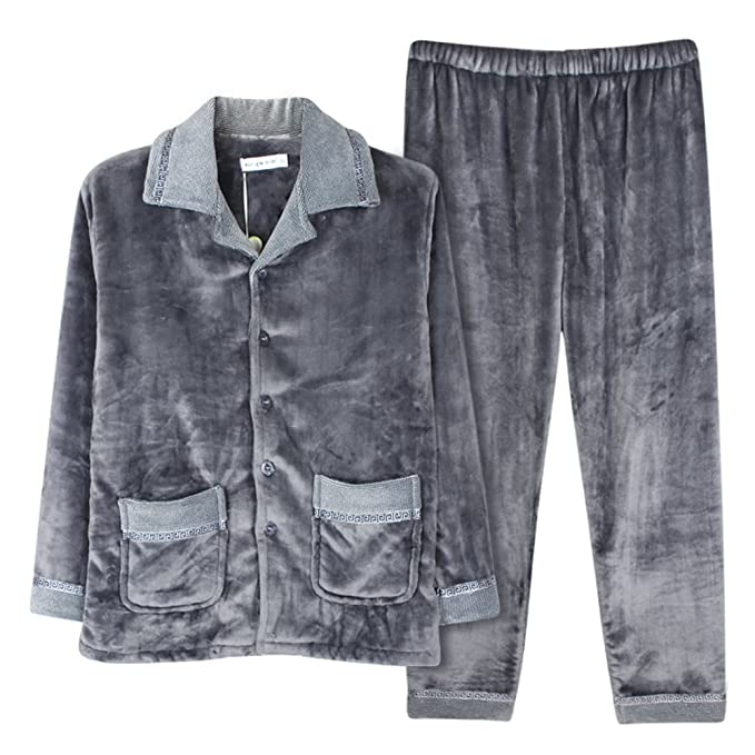 Hombre coral polar pijama en otoño e invierno/Franela gruesa ropa de invierno/ pijamas cómodos: Amazon.es: Ropa y accesorios