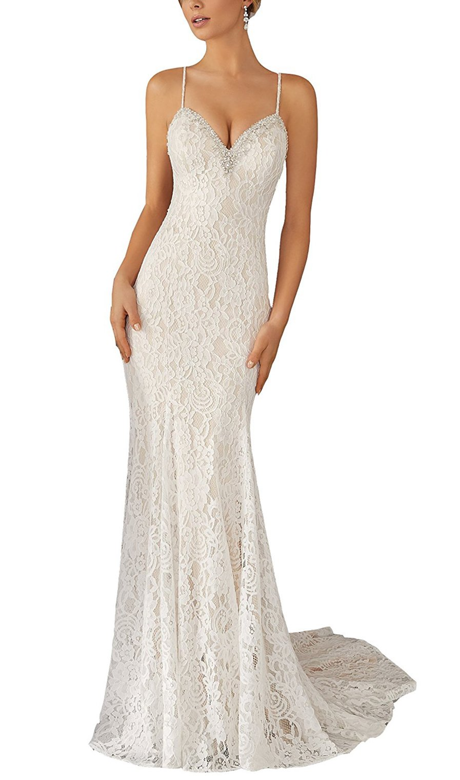 YinWen Women's V-Neck 2017 Boho Style Floor Length Spaghetti Straps Backless Beach Wedding Dress Size 6 US Ivory by YinWen