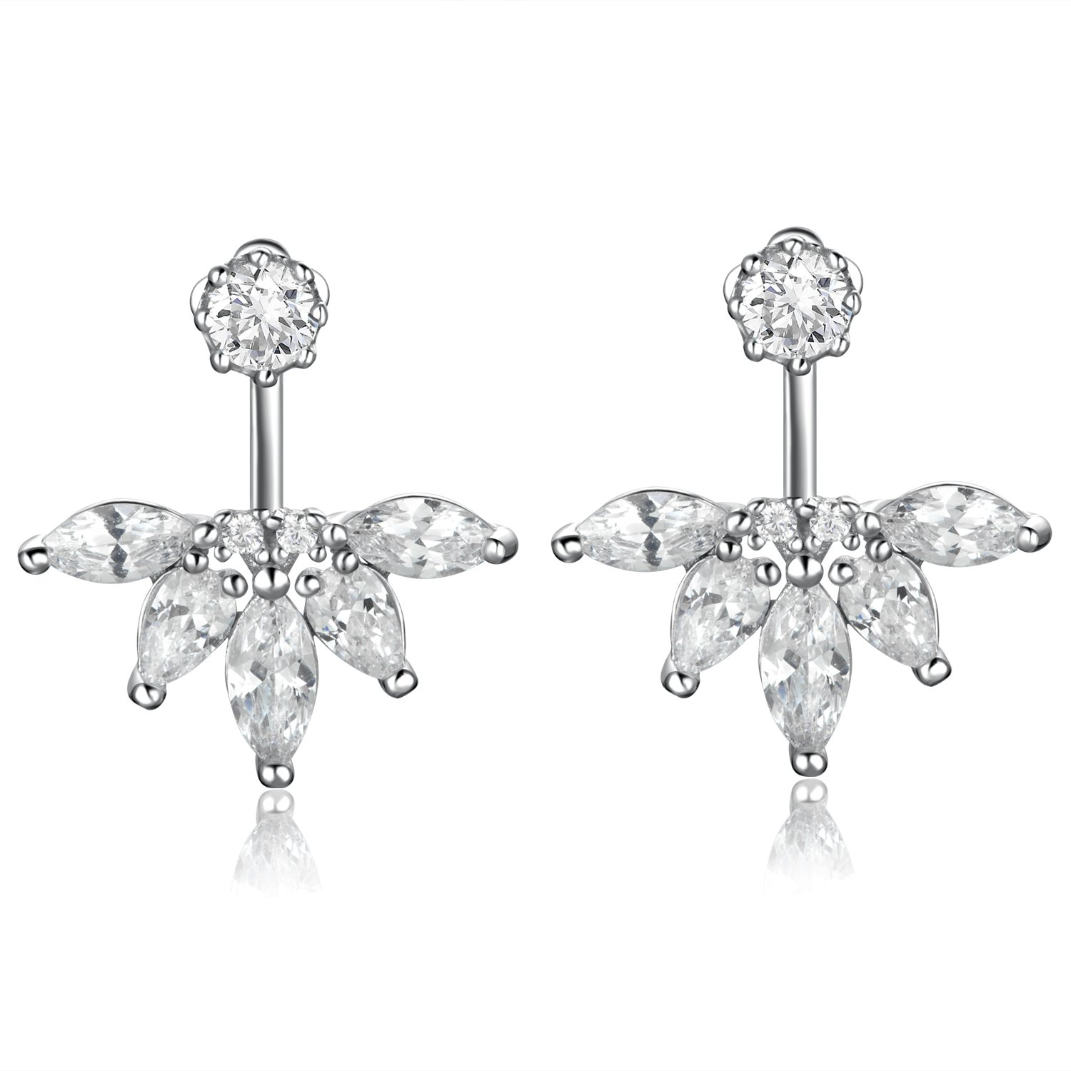 925 Sterling Silver Earrings with Diamonds,DOKINCIK,18K White Gold Plated Clear Crystal Leaf Feather Ear Jacket Earrings Back Cuffs Stud Earring sets for Women Babies and Girls