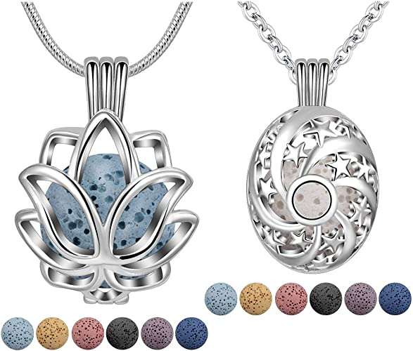 Metaphysical Lotus Flower Necklace Set with Calming Oil Diffuser Beads ❤