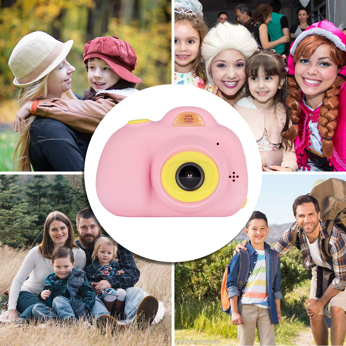 Kids Cameras Dual Selfie Digital Camera HD Video Recorder Action Camera Camcorder for 4-9 Year Old Kids Birthday Festival Gifts Toys for Children Boys Girls 2.0'' LCD Screen 4X Digital Zoom (Pink) by Tyhbelle (Image #5)