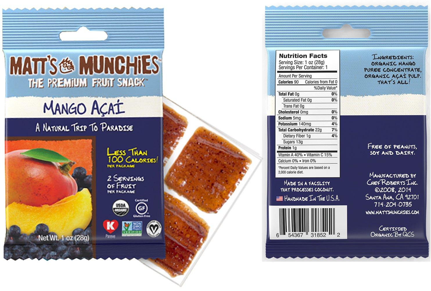 Matt's Munchies Tropical Assortment Organic Non-GMO Fruit Leather Peelable Fruit Snacks 25 Count Variety Pack Caddy - Mango, Island Mango, Tropical Punch, Banana Coconut & Apple by Matt's Munchies (Image #6)