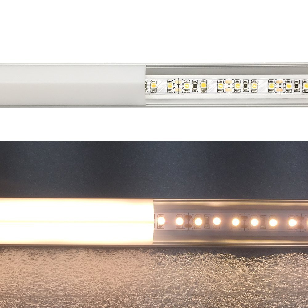 LightingWill 20-Pack V-Shape LED Aluminum Channel 6.6ft/2M Anodized Silver Corner Mount Extrusion for <12mm width SMD3528 5050 LED Strips with Vertical Cover, End Caps and Mounting Clips V01S2M20 by LightingWill (Image #4)