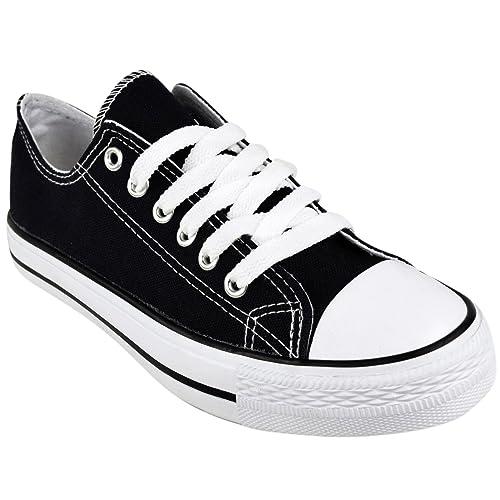 786 Online Shop Nuevo Mujer Niña Lona Plano Zapatillas Cordones Zapatillas - Negro, UK: