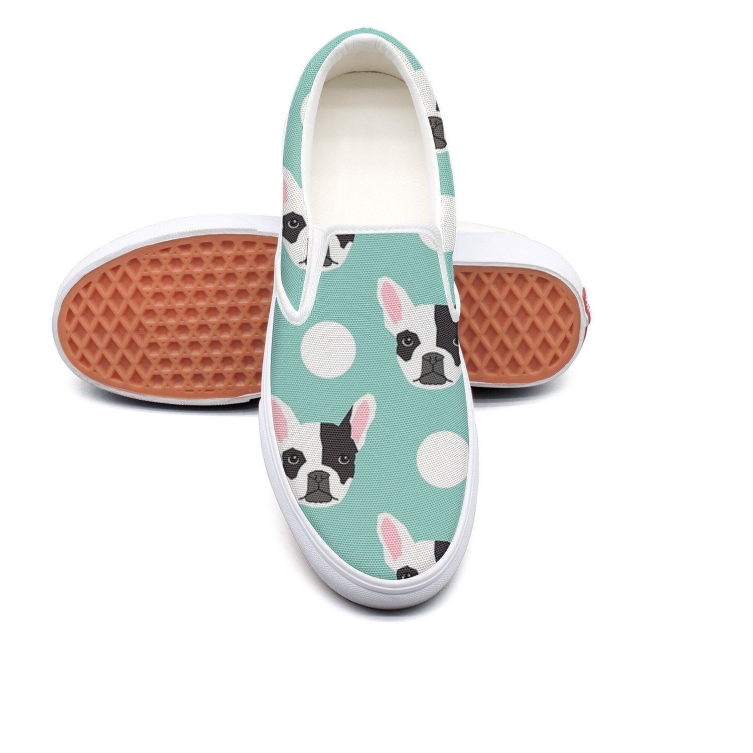 Lalige French Bulldog Pattern Women's Cute Canvas Slip-on Travel Shoes