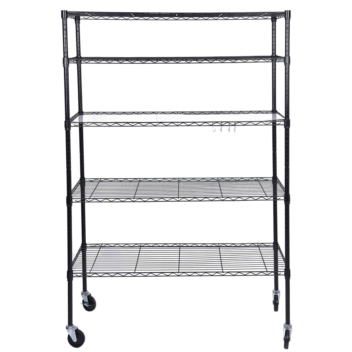 J.S. Hanger 5-Tier Heavy Duty Storage Shelf Adjustable Wire Shelving Rack, Thicken Tube and Industrial Wheels, Black by J.S. Hanger