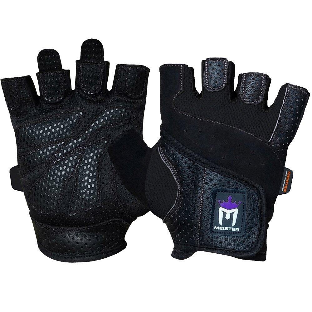 洗濯可能なアマラレザー使用のMeisterレディースフィットグリップウェイトリフティング手袋 B00TEFKLYC  ブラック Small