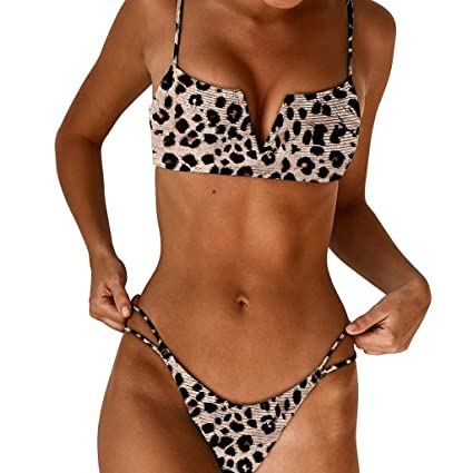 7782bc1ded5 Amazon.com : DaoAG-Summer Clothes Women 2 Pcs Bikini Set Sexy Deep V Leopard  Printed Brazilian Thong Bikini Set Swimsuits Pieces Swimsuit Padded Bathing  ...