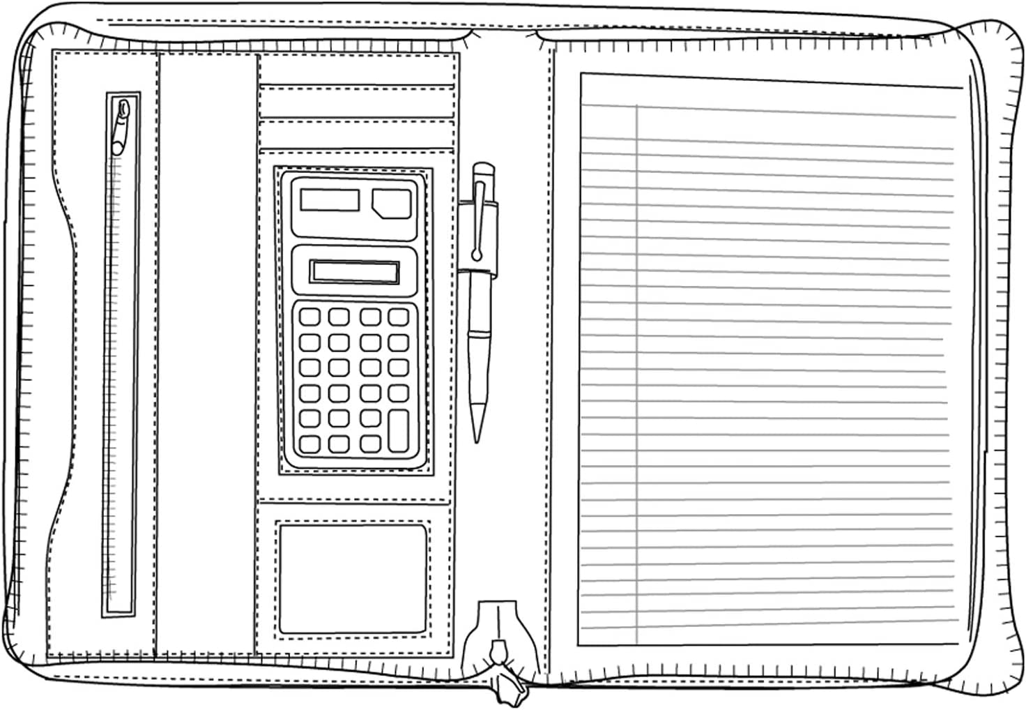 Deluxe Business Organizer Pad-Folio with Calculator Note Pad