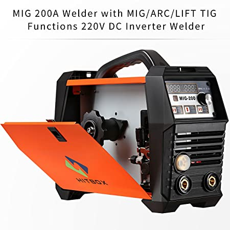 MIG Soldador Inverter Mig Soldadura 200Amp 220V DC MIG MAG ARC LIFT TIG ARC Máquina de Soldadura Gas Gas Flux Alambre Núcleo Soldador de Alambre de Núcleo ...
