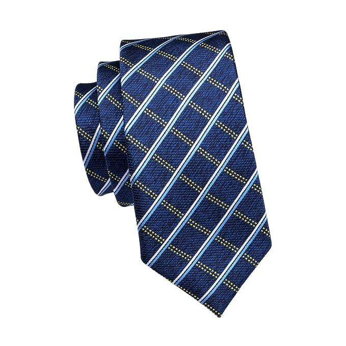 Amazon com: Barry Wang Plaid Tie Set Mens Woven Hanky
