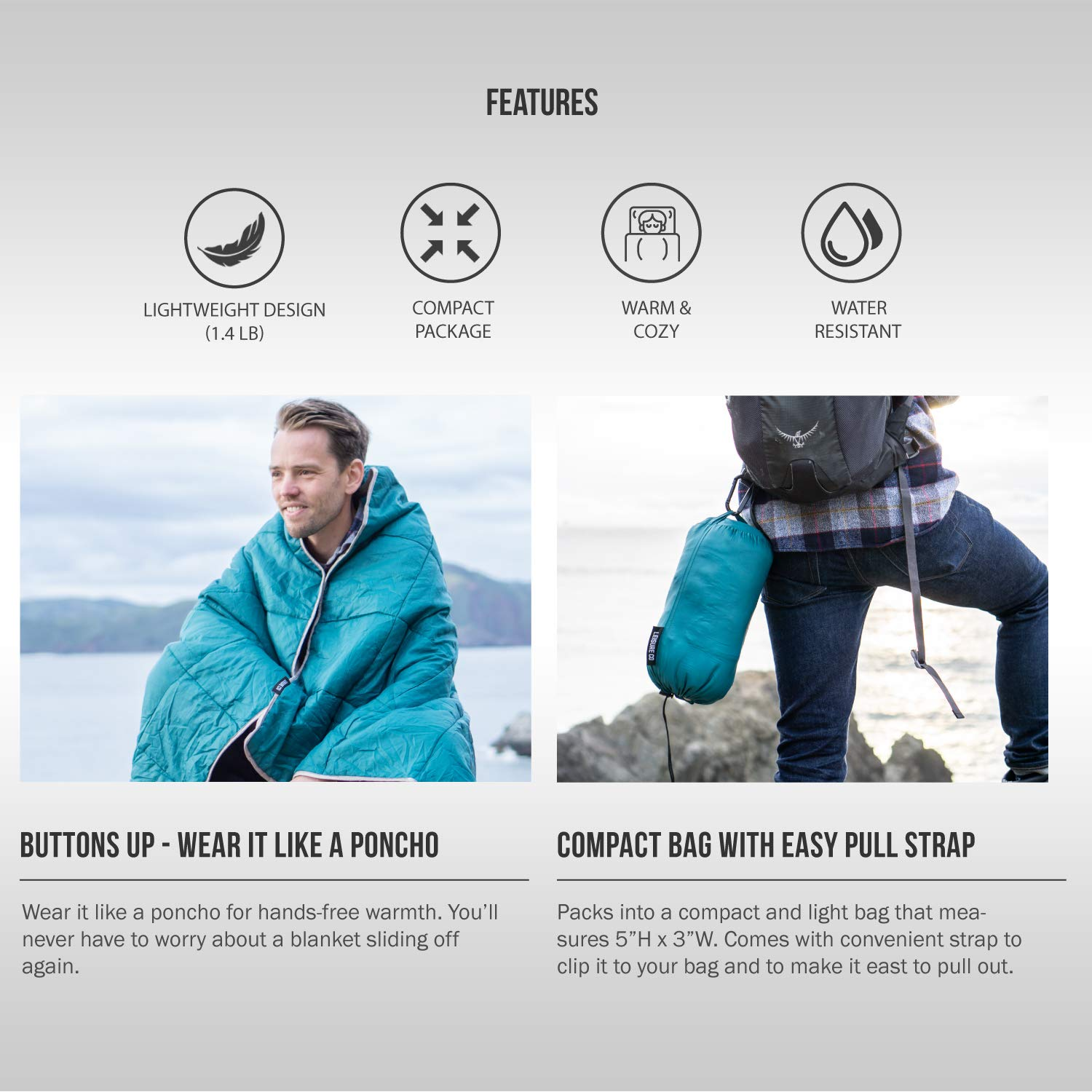Leisure Co Ultra-Portable Outdoor Camping Blanket – Windproof, Warm, Lightweight and Compact Packable Blanket – Perfect for Camp Trips, Stadium Games, Travel and Picnics