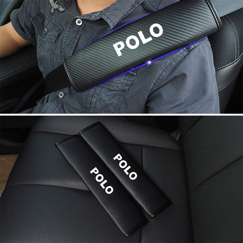 Lot de 2 Fibre de carbone Voiture ceinture de s/écurit/é Confort Pads Voyage avec des autocollants r/éfl/échissants pour Polo