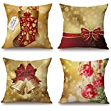 Gold Christmas Bows and Bells Throw Pillow Covers Set of 4 18 x 18 Inches Cotton Linen for Sofa and Bed, Merry Christmas Home Decorative Cushion Cases