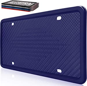 Intermerge Silicone License Plate Frame Holder Rust-Proof/Rattle-Proof/Weather-Proof with Drainage Holes Universal American Car Licenses Plate Covers (Dark Blue,1 Pack)