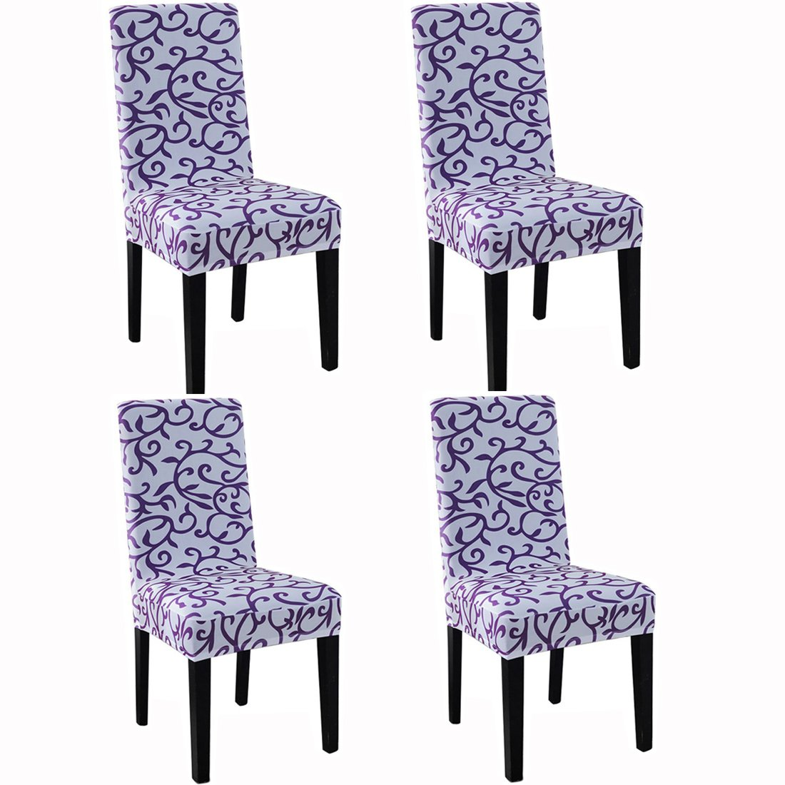 Dining Chair Slipcovers Protector Removable Short Stretch Spandex Dining Room Banquet Chair Seat Cover for Kitchen Bar Hotel and Wedding Ceremony 6PCS Black