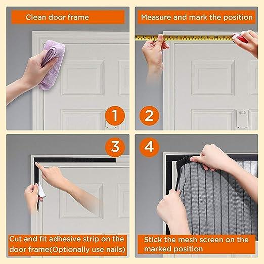 Protecci/ón contra Insectos Mosquitera Magn/ética para Puertas 80x215cm Negro Bueno para Ni/ños y Perros Mosquitera Puertas Velcro Adhesiva