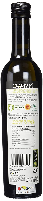 Cladivm - Aceite de Oliva Virgen Extra Variedad Hojiblanca - Denominación de Origen Priego de Córdoba - Formato Botella 500 ml: Amazon.es: Alimentación y ...