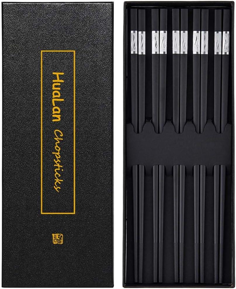 HuaLan Fiberglass Reusable Chopsticks Set Dishwasher-Safe Household/restaurant Chopsticks 5 Pairs with Gift Case