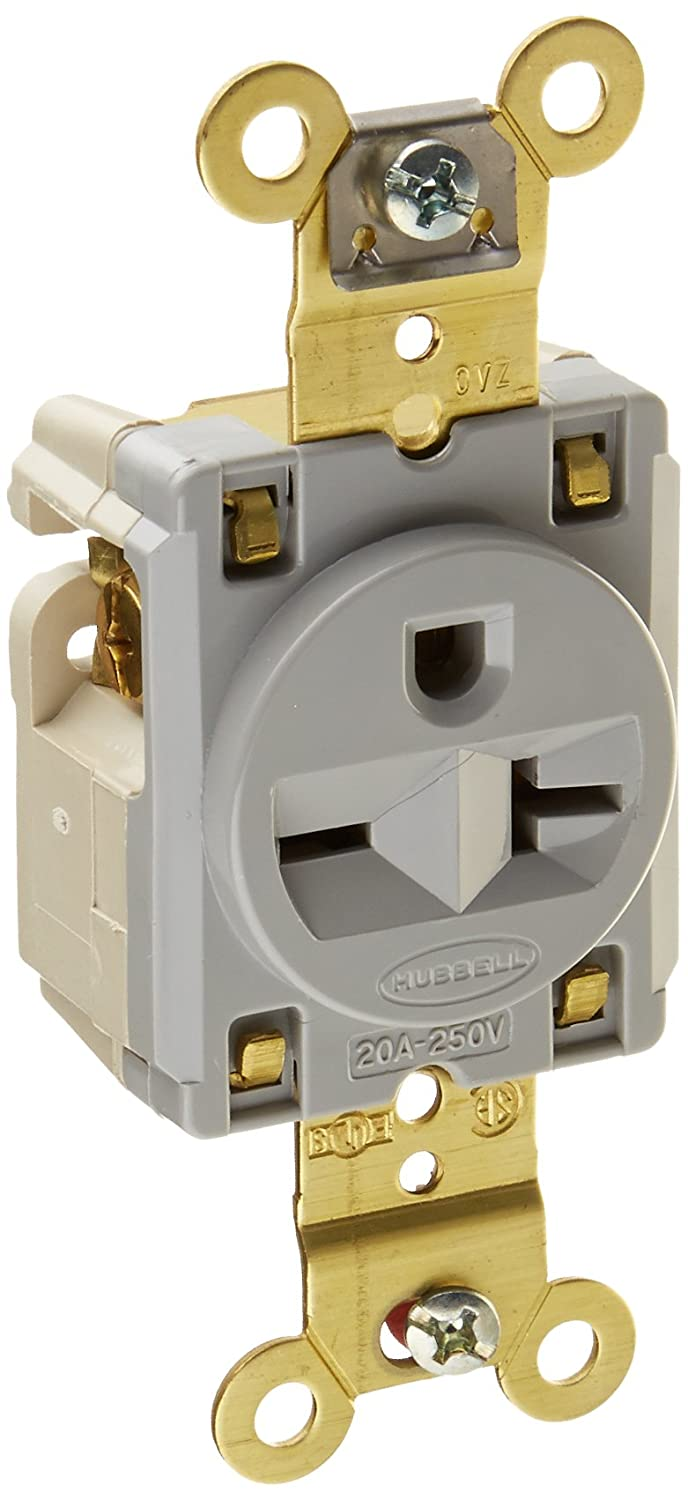 Hubbell HBL5461GY Single Receptacle, Industrial Grade, 20 amp, 250V ...