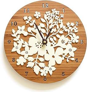 yage Wall Clock Wood Acrylic Wall Clock Modern Design Flower 3D Sticker Creative Clocks Imitation Wood Clocks Wall Watch Home Decor Suitable for Study Office