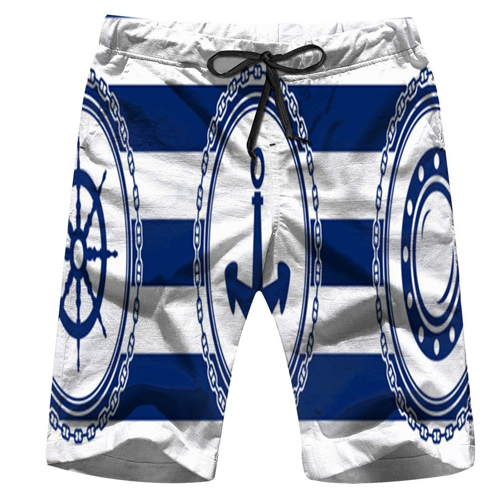 Banner Sea Emblems On Striped Adventure Transportation Mens Sports Runnning Swim Board Shorts with Pocket Mesh Lining