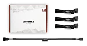 Noctua NA-SEC1 chromax.Black, 3-Pin/4-Pin Extension Cables (30cm, Black)