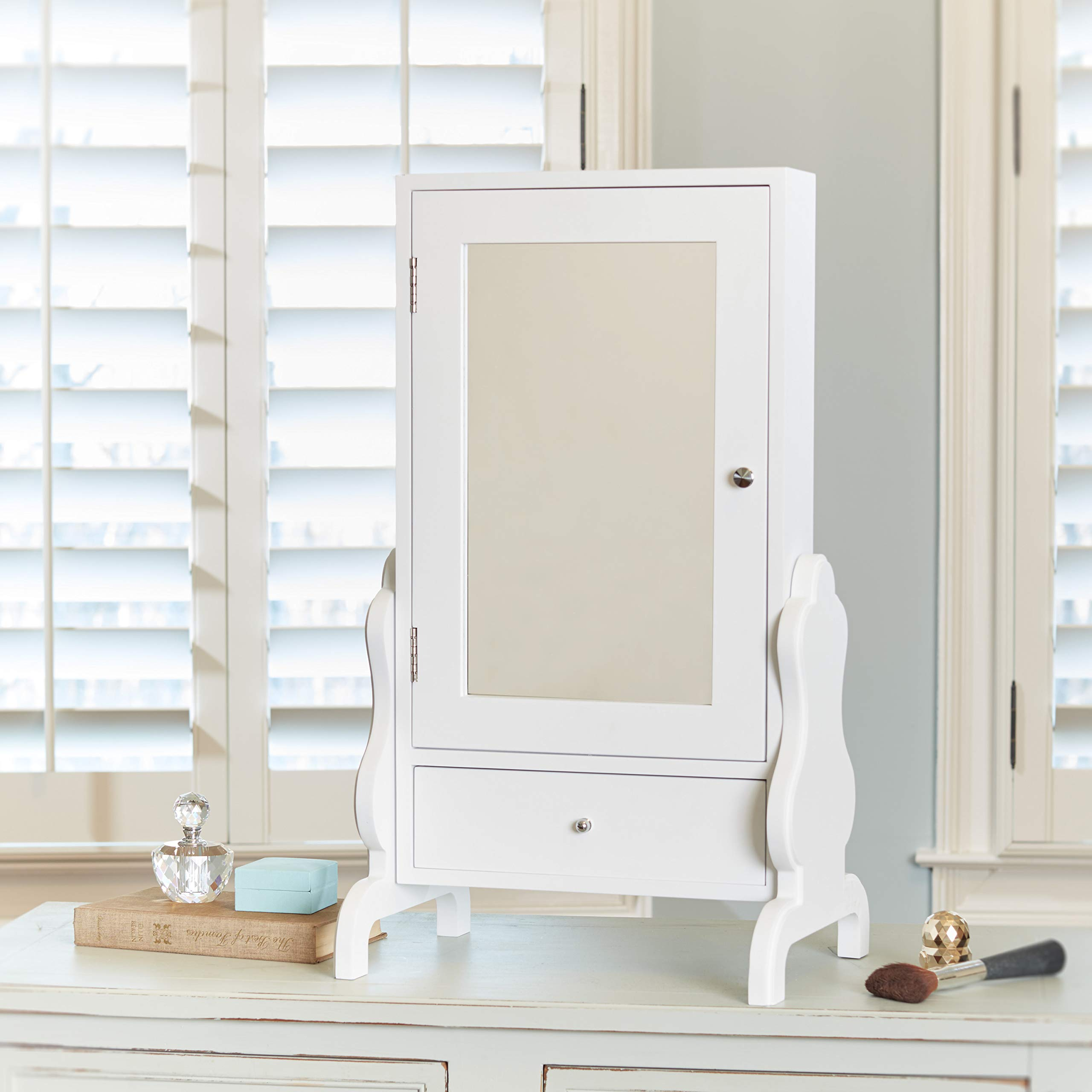 FirsTime & Co. White Tabletop Mirror with Jewelry Storage