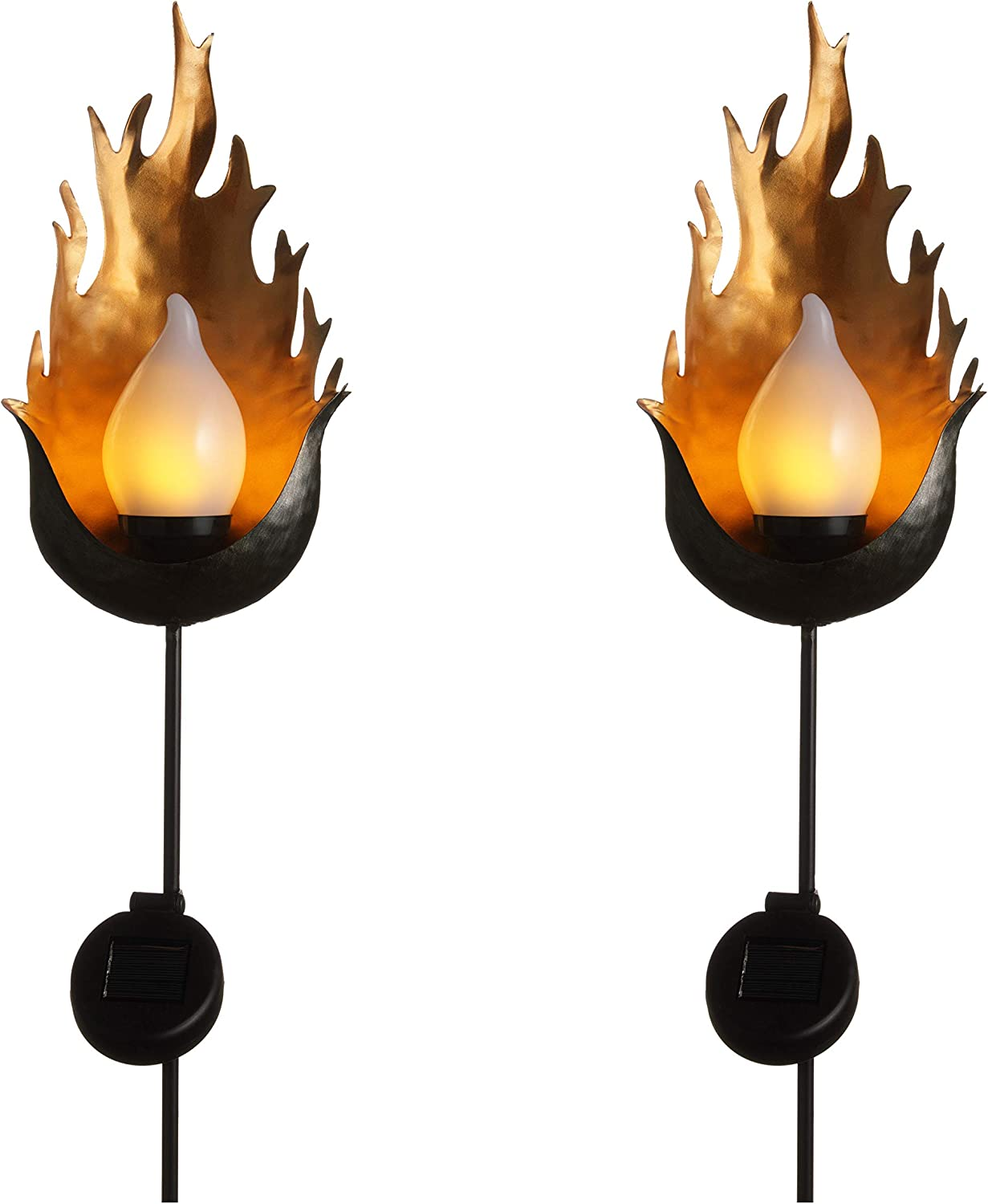 "70 Inch Metal Solar Flickering Flame Torches - Fuego - 2 Torch Set - Dancing ""TruFlame"" Bulb - 8 Hours Per Charge. Waterproof, Dust to Dawn Auto On/Off Beautify Landscaping Day and Night"