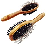 Natural Bamboo Eco Friendly Pet Grooming Dog and Cat Dual Sided Pin and Bristle Pet Deshedding Hair Brush by AtEase Accents