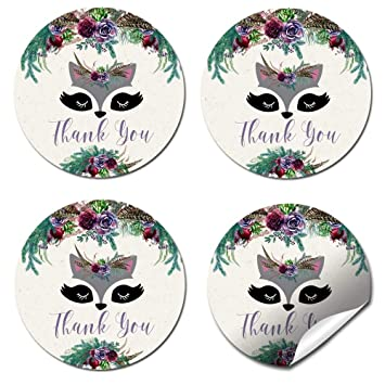 Great for Party Favors Envelope Seals /& Goodie Bags 40 2 Party Circle Stickers by AmandaCreation Woodland Forest Raccoon Face Floral Themed Thank You Sticker Labels for Kids