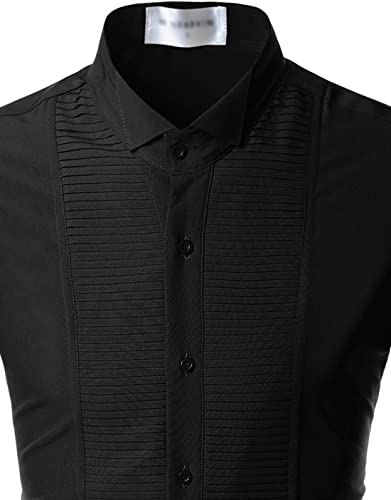 NEARKIN Mens Tuxedo Shirts Non Iron Wrinkle Free Spandex Comfy Dress Shirt