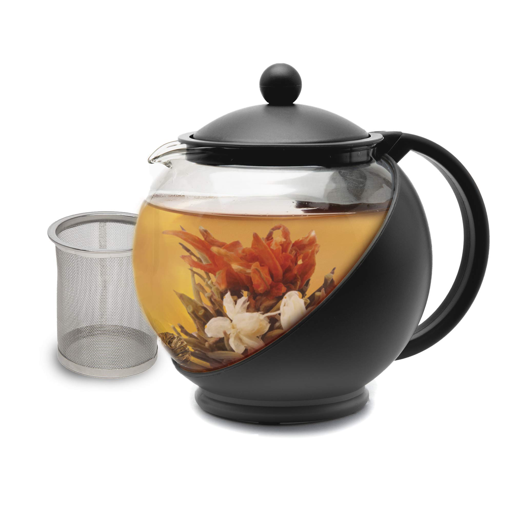 Primula Half Moon Teapot with Removable Infuser, Borosilicate Glass Tea Maker, Stainless Steel Filter, Dishwasher Safe, 40-Ounce, Black