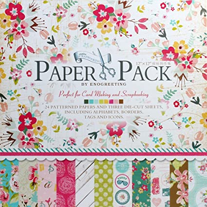 Eno Greeting Decorative Card Making Scrapbooking Paper Pack 24