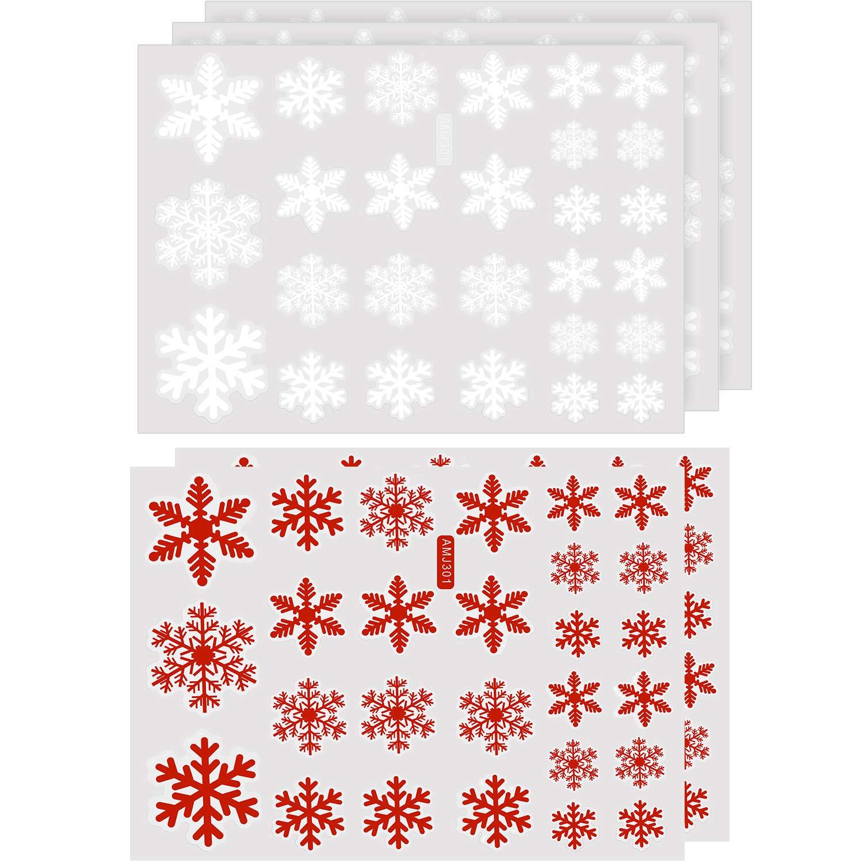 Chengu 135 Pezzi Totalmente Adesivi per Finestre di Natale con Fiocchi di Neve Bianco Rosso Decalcomanie per Attaccare Il Fiocco di Neve per Natale Nuovo Anno Festa Decorazione