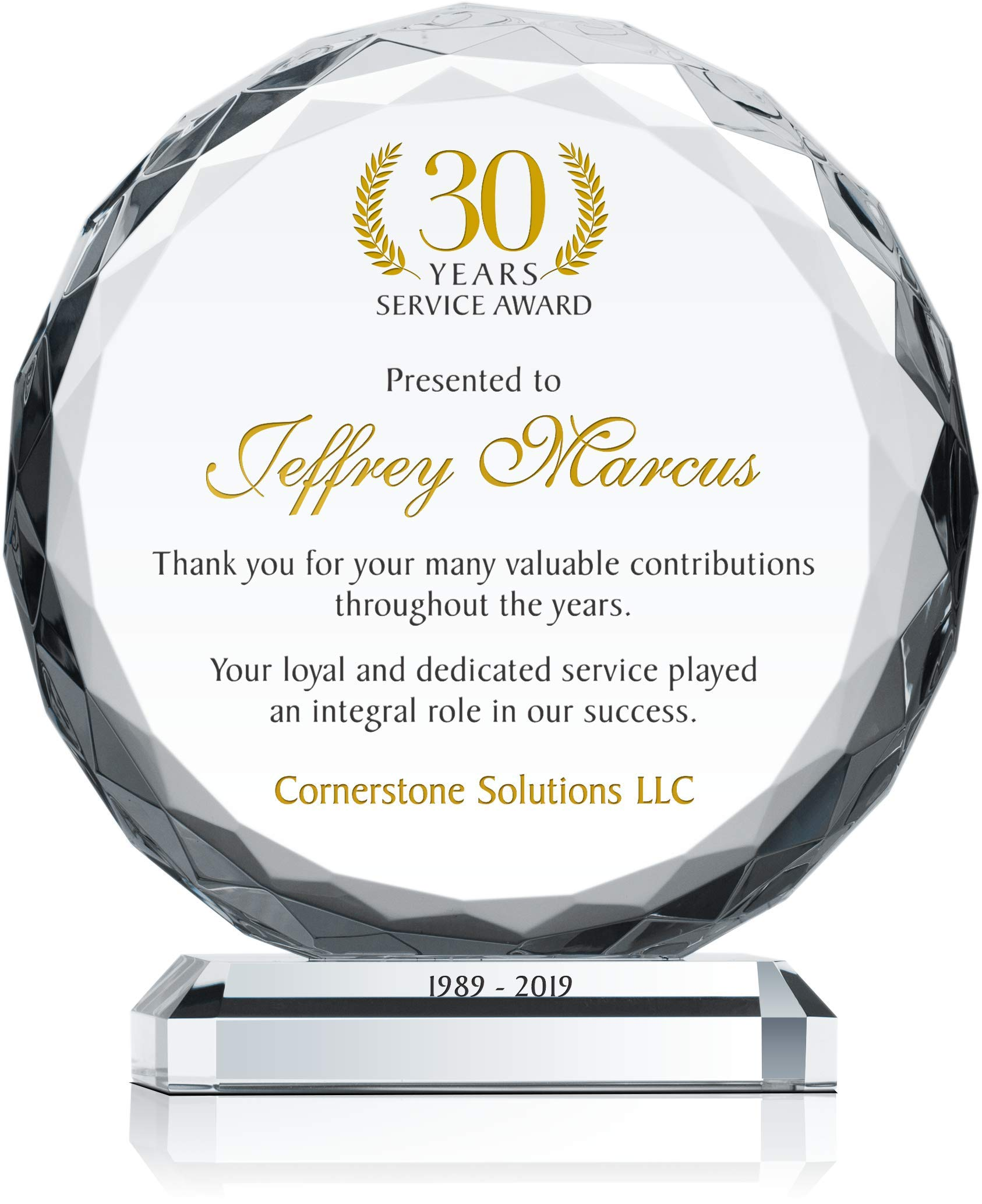 Personalized Crystal Sunflower Employee Service Recognition Award Plaque, Customized with Employee & Company Name, Years of Service, Unique 5, 10, 15, 20, 30 Years Service Award Trophy (L - 8'') by Crystal Central