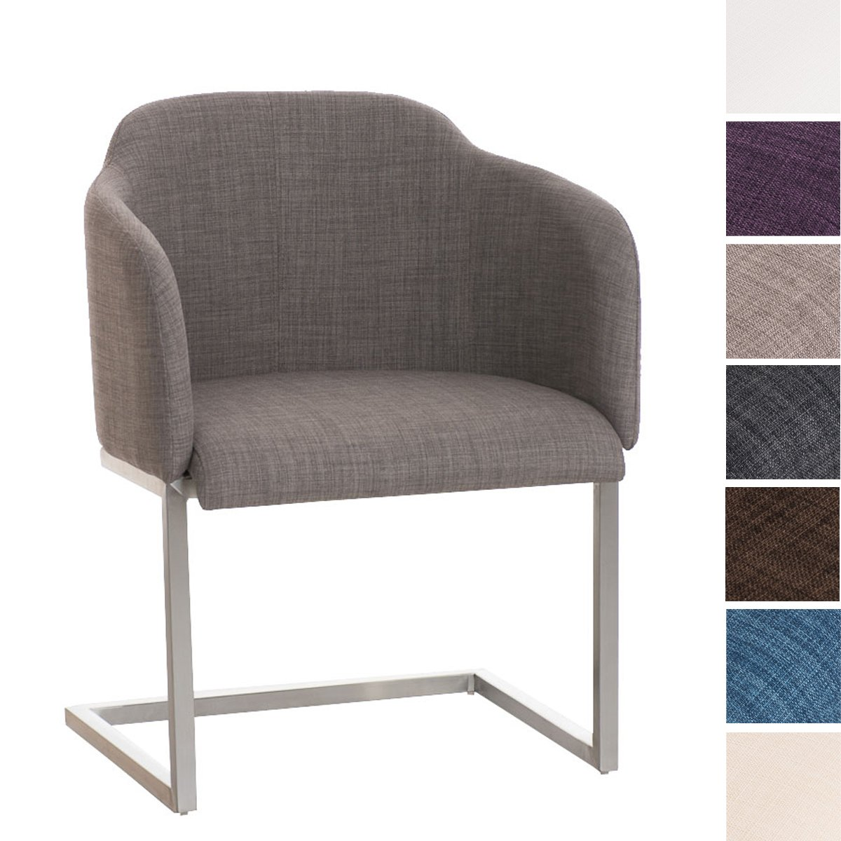 CLP Chaise luge MAGNUS - accoudoirs - piétement en acier - revêtement en tissu - très bon rembourrage gris