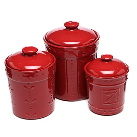 Genesee 3 Piece Kitchen Ceramic Canisters Ruby Stoneware Crock Set