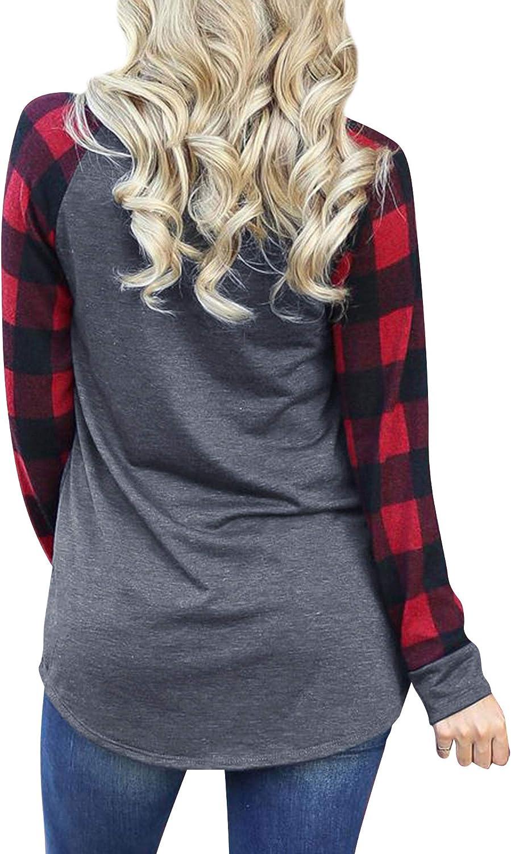 Merry Christmas Shirt Women Funny Christmas Plaid Long Sleeve Xmas Shirts Loose Fitting Tunic Tops