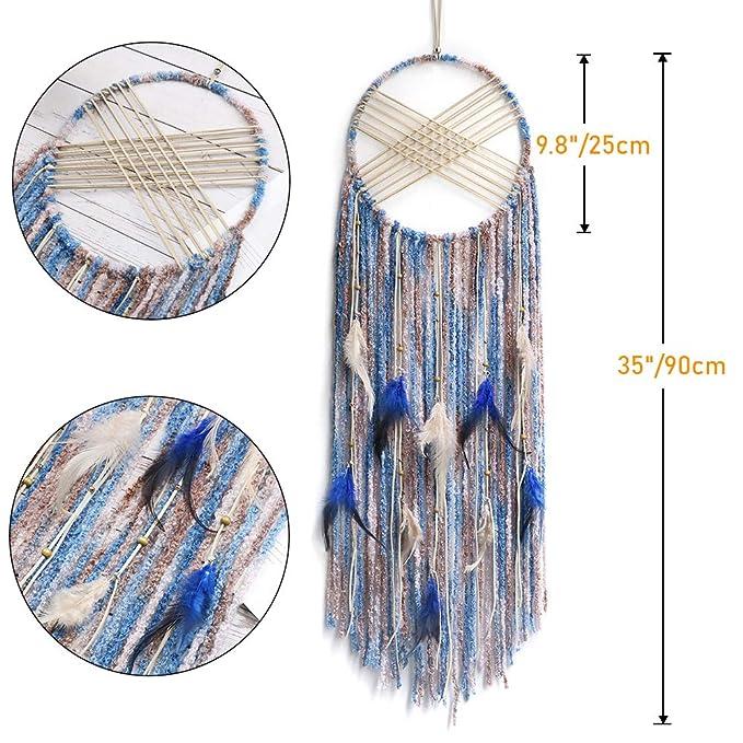 Amazon.com: KHOYIME - Atrapasueños de plumas, color azul y ...