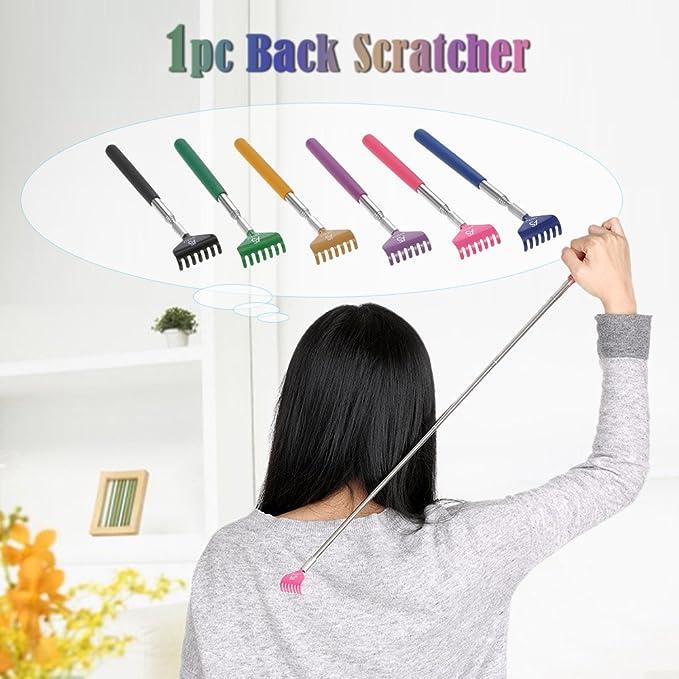 Anself Telescópico Back Scratcher Massager Metal Compacto Extensible 5 Sección 20-68cm Negro: Amazon.es: Belleza