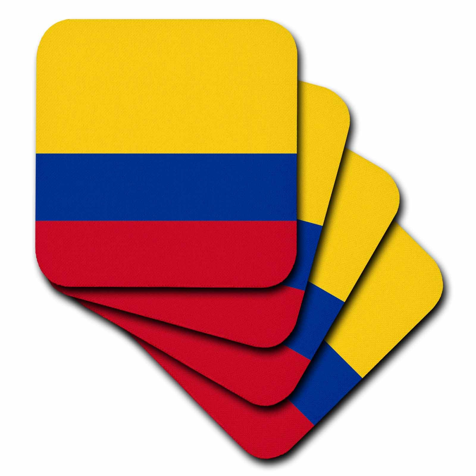 3dRose cst_158280_2 Flag of Colombia Colombian Gold Yellow Blue Red Horizontal Stripes Patriotic South America American-Soft Coasters, Set of 8